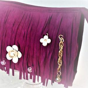 Handbags - Fringe Pochette Clutch Purse Camelia Rose Bloom